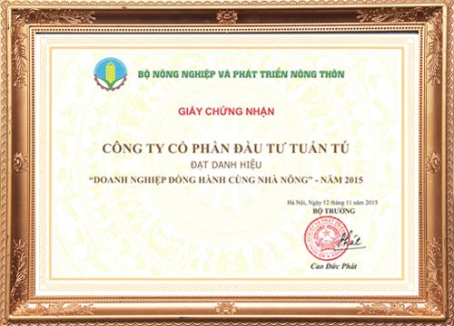 Được giấy chứng nhận của BỘ NÔNG NGHIỆP VÀ PHÁT TRIỂN NÔNG THÔN
