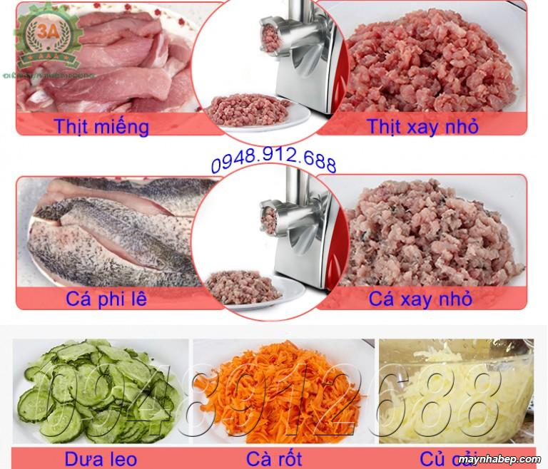 Thịt, cá được nghiền bằng Máy xay thịt, thái rau, củ, quả