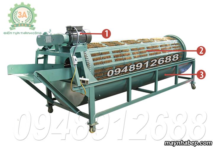 Cấu tạo Máy rửa củ quả nông sản bằng xơ dừa 3A3Kw