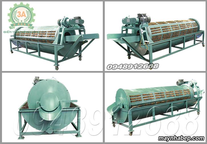 Hình ảnh các góc máy rửa củ quả nông sản bằng xơ dừa 3A3Kw