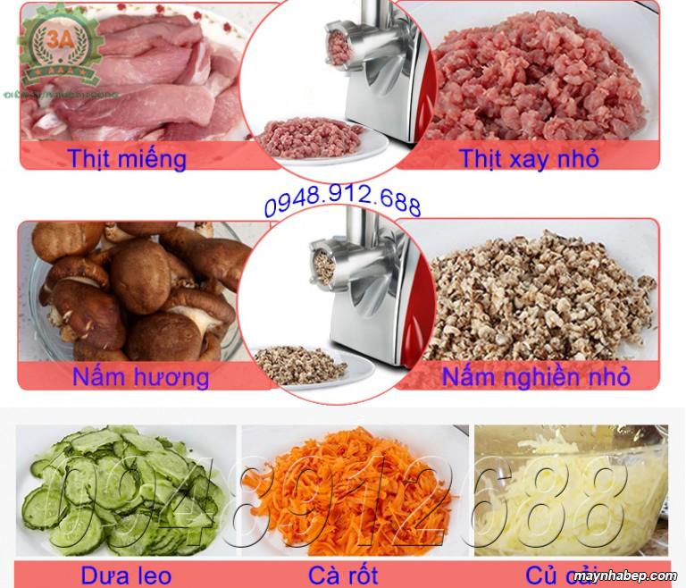Sơ chế nguyên liệu bằng Máy xay thịt, thái rau củ quả đa năng 3A400W