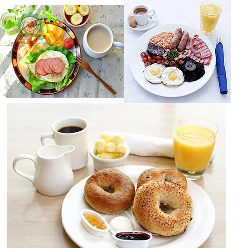 Thực đơn bữa sáng khác nhau